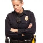 Sad female police officer