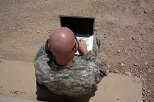 solider with laptop