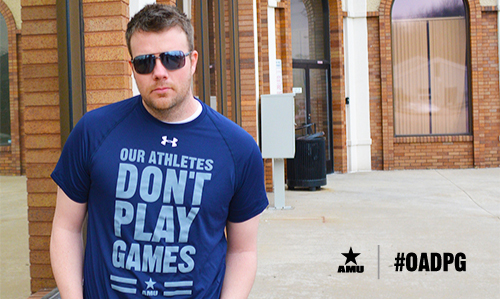 Wes is pictured here in Air Force colors for the AMU's new 'Athletes Don't Play Games' gear.